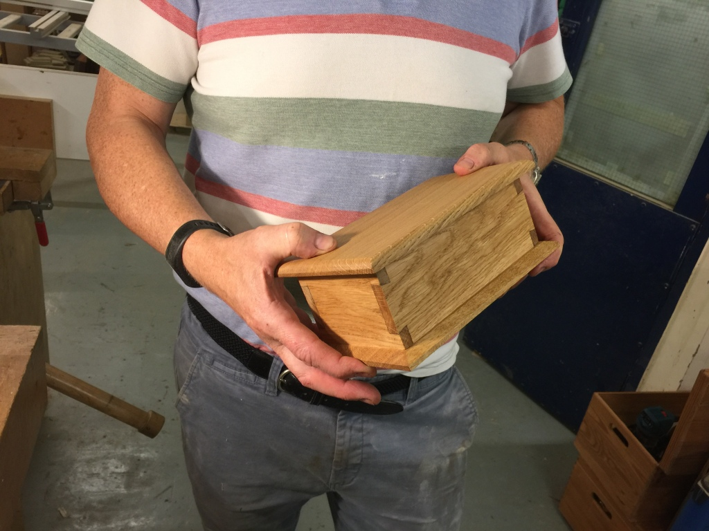 A nice box made in oak; its maker also donated a huge number of old tools for refurbishment and shipping to Africa